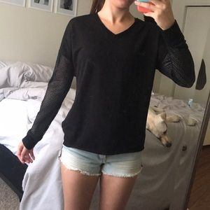 Black Long Sleeve Activewear Top with Mesh
